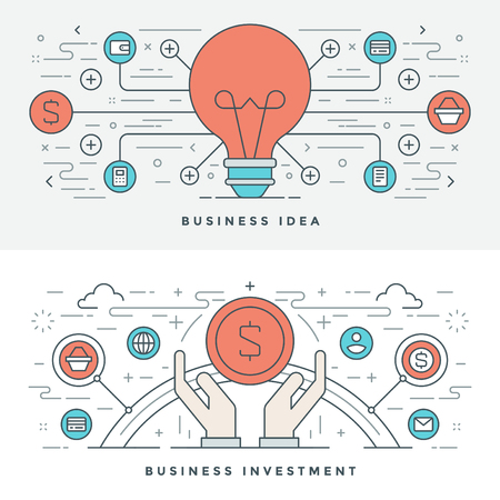 business idea: Flat line Business Idea and Investment. Vector illustration. Modern thin linear stroke vector icons. Website Header Graphics, Banner, Infographics Design, Promotional Materials. Vector Icons. Illustration