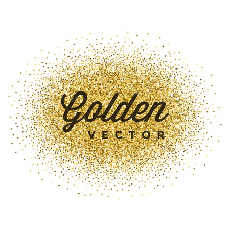 Gold Glitter Sparkles Bright Confetti Vector Background. Good for Greeting Gold Cards, Luxury Invitation, Advertising, Voucher, Certificate, Banners, Quote Mark Text. Golden Texture, Shiny Gold.