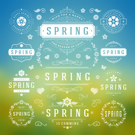 sale icons: Spring Typographic Design Set. Retro and Vintage Style Templates. Vector Design Elements and Icons. Spring Icons, Spring Greeting Cards, Spring Sale Badges, Spring Vector, Flowers Vector Collection.