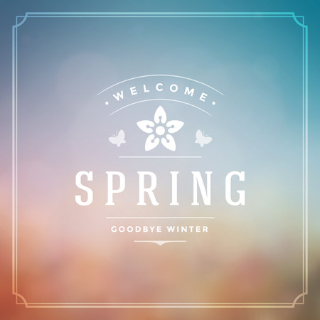 field flowers: Spring Vector Typographic Poster or Greeting Card Design. Beautiful Blurred Lights with Bokeh and Flower Field. Spring Background, Spring Label, Spring Flowers, Spring Sale, Spring Advertising. Illustration