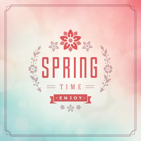 classical: Spring Vector Typographic Poster or Greeting Card Design. Beautiful Blurred Lights with Bokeh and Flower. Spring Background, Spring Label, Spring Flowers, Spring Sale, Spring Advertising. Illustration