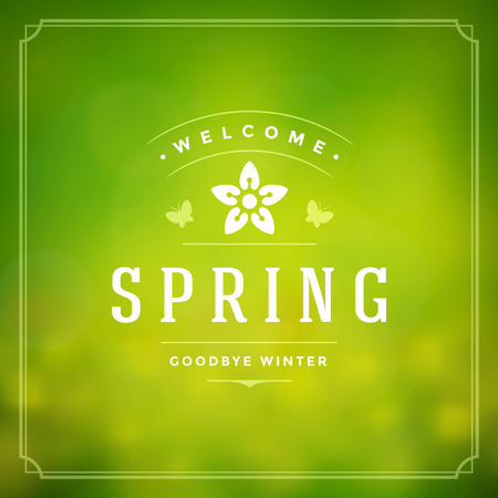 Spring Vector Typographic Poster or Greeting Card Design. Beautiful Blurred Lights with Bokeh and Flower Field. Spring Background, Spring Label, Spring Flowers, Spring Sale, Spring Advertising.  イラスト・ベクター素材