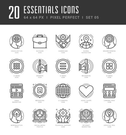 video icons: Line icons set. Trendy Modern Flat thin linear stroke vector Essentials Objects concept. For website graphics, Mobile Apps, Infographics design, Brochures. Outline pictogram pack.