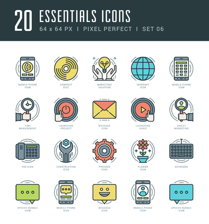 icon phone: Line icons set. Trendy Modern Flat thin linear stroke vector Essentials Objects concept. For website graphics, Mobile Apps, Infographics design, Brochures. Outline pictogram pack.