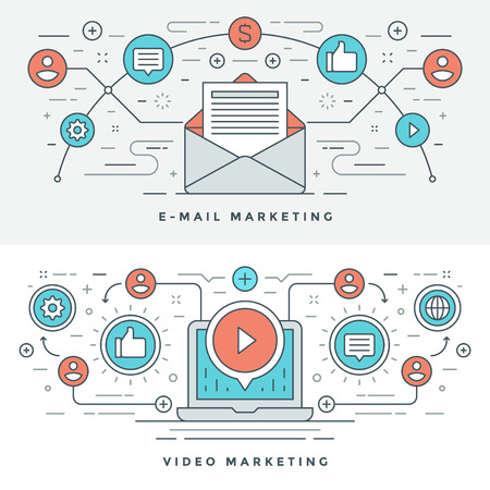 email icons: Flat line E-mail and Video Marketing Concept Vector illustration. Modern thin linear stroke vector icons. Website Header Graphics, Banner, Infographics Design, Promotional Materials. Envelope Icon.