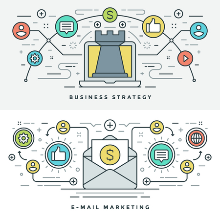 email icons: Flat line E-mail and Business Strategy Concept Vector illustration. Modern thin linear stroke vector icons. Website Header Graphics, Banner, Infographics Design, Promotional Materials. Chess Icon.