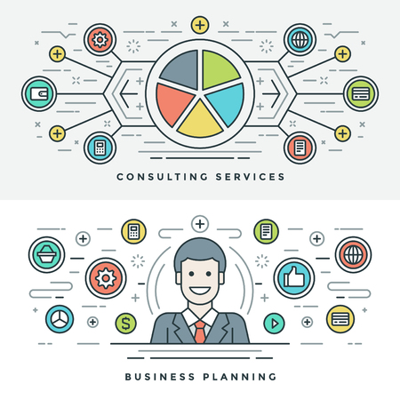 website header: Flat line Services and Business Planning Concept Vector illustration. Modern thin linear stroke vector icons. Website Header Graphics, Banner, Infographics Design, Promotional Material. Man Icon. Illustration