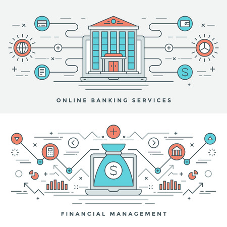website banner: Flat line Banking and Financial Management Concept Vector illustration. Modern thin linear stroke vector icons. Website Header Graphics, Banner, Infographics Design, Promotional Material. Money Icons. Illustration