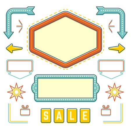 set template: Retro American 1950s Sign Design Elements Set. Billboard Signage Light Bulbs, Frames, Arrows, Icons, Neon Lamps. For advertising, greetings cards, poster vector. Retro Sign, Vinage Frame. Illustration