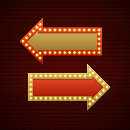 showtime: Retro Showtime Sign Design. Arrows Cinema Signage Light Bulbs and Neon Lamps on brick wall background. American advertisement style vector illustration.