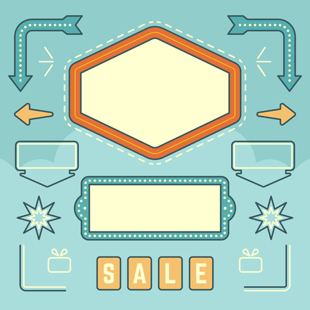 Retro American 1950s Sign Design Elements Set. Billboard Signage Light Bulbs, Frames, Arrows Icons, Neon Lamps. For advertising, greetings cards, poster vector. Retro Sign, Vinage Frame.