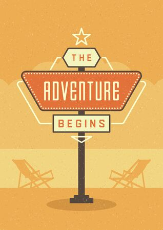 begins: Retro Sign Billboard Typographic Quote Poster Design. The Adventure Begins. American signage style vector background. Quote Sign, Retro Quote Design, Quote Design, Motivation poster, 1950s Style