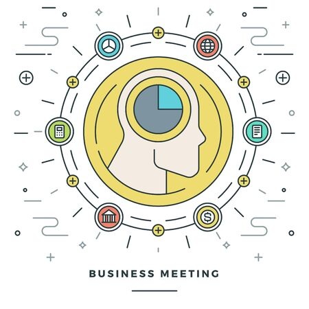 brainstorming: Flat line Business Meeting and Analysis Concept Vector illustration. Modern thin linear stroke vector icons. Website Graphics, Banner, Infographics Design, Promotional Material. Human Head Icon.