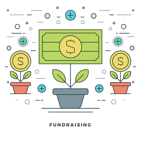 fundraising: Flat line Fundraising and Financial Growth Concept Vector illustration. Modern thin linear stroke vector icons. Website Graphics, Banner, Infographics Design, Promotional Material. Money Icons.
