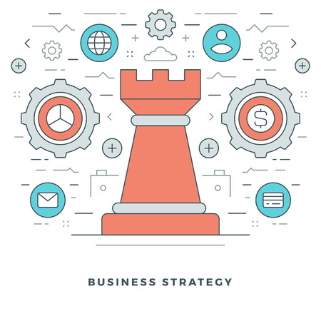 strategic management: Flat line Business Strategic Management. Vector illustration. Modern thin linear stroke vector icons. Website Graphics, Banner, Infographics Design, Promotional Materials. Chess Icon.