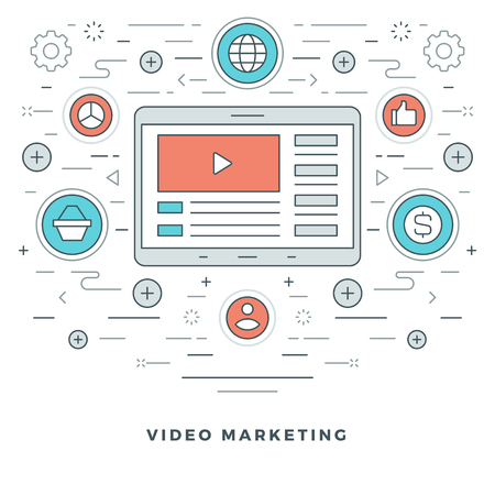 video icons: Flat line E-learning or Video Marketing. Vector illustration. Modern thin linear stroke vector icons. Website Graphics, Banner, Infographics Design, Promotional Materials. Video Icon. Illustration