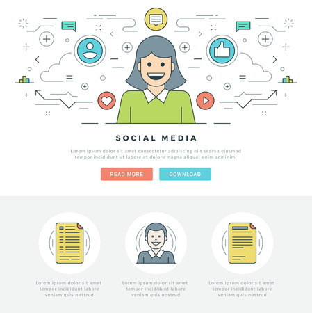 Flat line Social Media and Network Concept Vector illustration. Modern thin linear stroke vector icons. For website graphics, Mobile Apps, Web Page Layout design. People Icons.