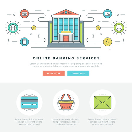 bank transfer: Flat line Online Business Concept Vector illustration. Modern thin linear stroke vector icons. For website graphics, Mobile Apps, Web Page Layout design. Vector Icons.