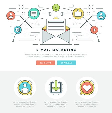 Ligne plate E-mail Marketing Concept Illustration vectorielle. Icônes vectorielles moderne mince trait linéaire. Pour les graphiques de site Web, les applications mobiles, la conception de mise en page Web. Icônes vectorielles.