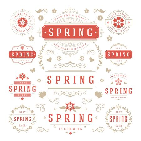 sale icons: Spring Typographic Design Set. Retro and Vintage Style Templates. Vector Design Elements and Icons. Spring labels, Spring Greeting Cards, Spring Sale Badges, Spring Vector, Flowers Vector Collection.