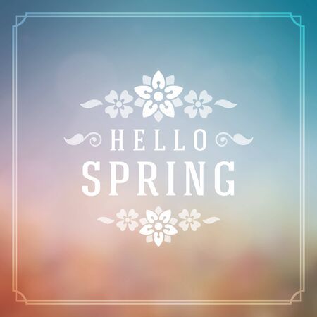 springtime: Spring Vector Typographic Poster or Greeting Card Design. Beautiful Blurred Lights with Bokeh and Flower Field. Spring Background, Spring Label, Spring Flowers, Spring Sale, Spring Advertising. Illustration