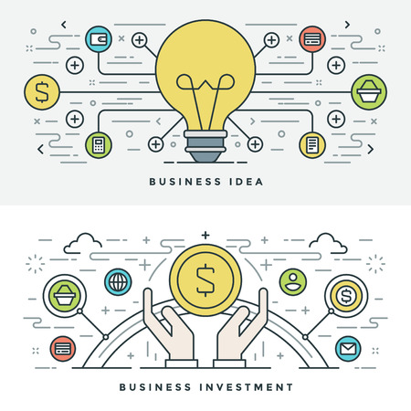 website header: Flat line Business Idea and Investment. Vector illustration. Modern thin linear stroke vector icons. Website Header Graphics, Banner, Infographics Design, Promotional Materials. Vector Icons. Illustration