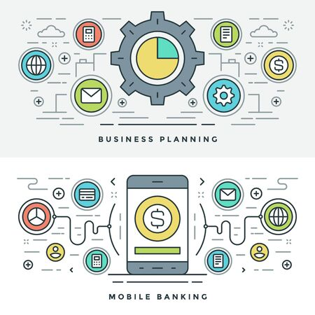 website header: Flat line Business Planning and Banking. Vector illustration. Modern thin linear stroke vector icons. Website Header Graphics, Banner, Infographics Design, Promotional Materials. Vector Icons.