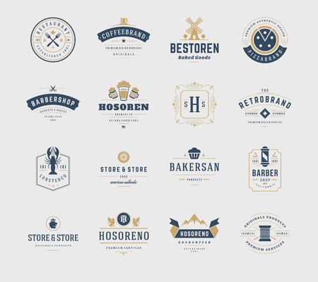 business symbols: Vintage Design Templates Set. Vector design elements, Elements, symbols, Icons, Vector, Symbols Design, Retro. Beer, Restaurant, Ornament, Bakery. Illustration