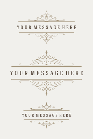 calligraphic: Vintage Vector Ornaments Decorations Design Elements. Flourishes calligraphic combinations retro design for Invitations, Posters, Badges and other design.
