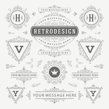 combinations: Vintage Vector Ornaments Decorations Design Elements. Flourishes calligraphic combinations Retro, Royal, Crest, Greeting cards, Ornament, Vintage, Invitation, Menu Design.