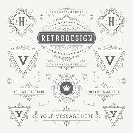combinations: Vintage Vector Ornaments Decorations Design Elements. Flourishes calligraphic combinations Retro, Royal, Crest, Greeting cards, Ornament, Vintage, Invitation, Menu Design.