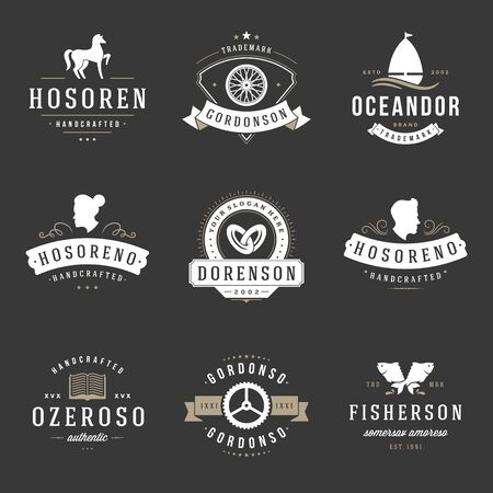 horse fish: Vintage Design Templates Set. Vector design elements, Elements, symbols, Icons, Vector, Symbols Design, Retro. Horse, Barber Shop, Wedding, Fish.