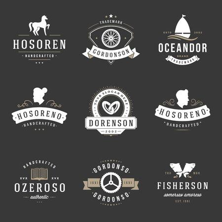 beauty product: Vintage Design Templates Set. Vector design elements, Elements, symbols, Icons, Vector, Symbols Design, Retro. Horse, Barber Shop, Wedding, Fish.