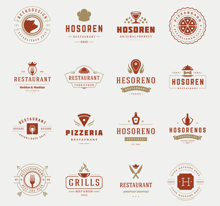 grill meat: Vintage Restaurant Design Templates Set. Vector design elements, Chef Hat, Meat Silhouette, Pizza Symbol, Grill, Fork object, Knifes, Restaurant and Cafe icons, Fast food. Illustration