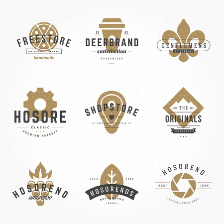 vintage badge: Vintage Design Hand Drawn Templates Set. Vector elements collection, Icons Symbols, Retro Labels, Badges, Silhouettes, Coffee Cup, Fast Food, Meat, Pizza, Mountain, Photography, Leaf. Illustration