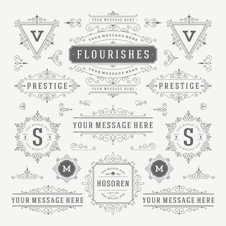 Vintage Vector Ornaments Decorations Design Elements. Flourishes calligraphic combinations Retro Royal Labels, Crest Badges, Frames. For Greeting cards, Invitation, Certificate, Boutique sign. Illustration