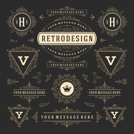 Vintage vector ornamenten decoraties ontwerpelementen. Bloeit kalligrafische combinaties Retro Royal-labels, Crest-insignes, frames. Voor Wenskaarten, Uitnodiging, Certificaat, Boutiekteken. Vector Illustratie