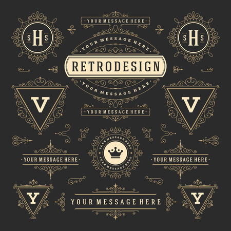 combinations: Vintage Vector Ornaments Decorations Design Elements. Flourishes calligraphic combinations Retro Royal Labels, Crest Badges, Frames. For Greeting cards, Invitation, Certificate, Boutique sign. Illustration
