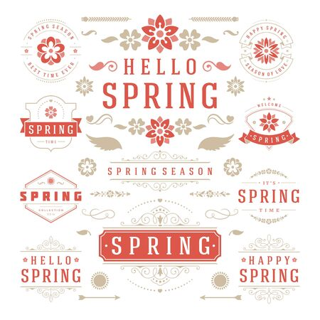 love icon: Spring Typographic Design Set. Retro and Vintage Style Templates. Vector Design Elements and Icons. Spring  , Spring Greeting Cards, Spring Sale Badges, Spring Vector, Flowers Vector Collection.