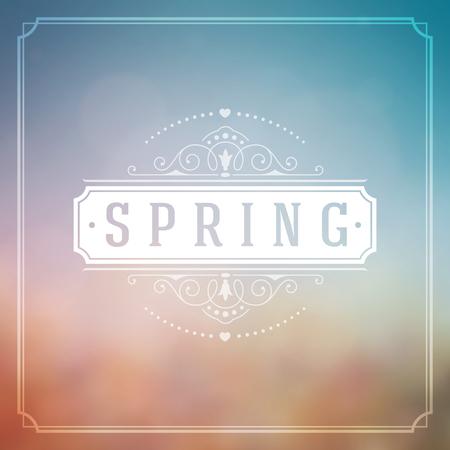 � spring: Primavera vector tipogr�fico del cartel o Dise�o tarjeta de felicitaci�n. Hermosas luces borrosa con el bokeh y el campo de flor. Antecedentes de primavera, marca de la primavera, flores de la primavera, en primavera, la primavera de Publicidad. Vectores