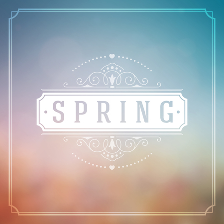 spring: Spring Vector Typographic Poster or Greeting Card Design. Beautiful Blurred Lights with Bokeh and Flower Field. Spring Background, Spring Label, Spring Flowers, Spring Sale, Spring Advertising. Illustration