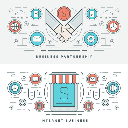 sales process: Flat line Business Partnership and Internet. Vector illustration. Modern thin linear stroke vector icons. Website Header Graphics, Banner, Infographics Design, Promotional Materials. Hands Icons. Illustration