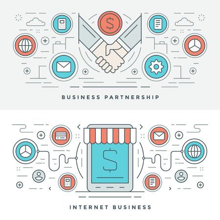 Vlakke lijn Business Partnership en internet. Vector illustratie. Moderne dunne lineaire slag vector iconen. Website Header Graphics, Banner, Infographics Design, promotiemateriaal. Handen Pictogrammen.