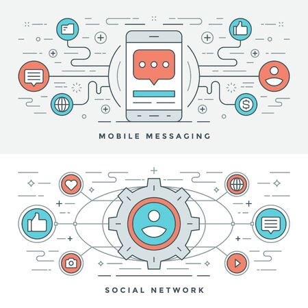mobile website: Flat line Social Media and Mobile Messaging. Vector illustration. Modern thin linear stroke vector icons. Website Header Graphics, Banner, Infographics Design, Promotional Materials. Vector Icons. Illustration