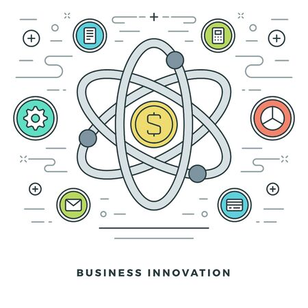 dollar signs: Flat line Business Innovations or Research Concept. Vector illustration. Modern thin linear stroke vector icons. Website Graphics, Banner, Infographics Design, Promotional Materials. Vector Icons. Illustration