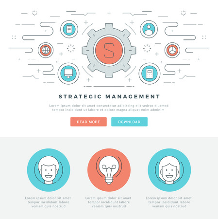 strategic management: Flat line Strategic Management Business Concept Vector illustration. Modern thin linear stroke vector icons. For website graphics, Mobile Apps, Web Page Layout design. Vector Icons. Illustration
