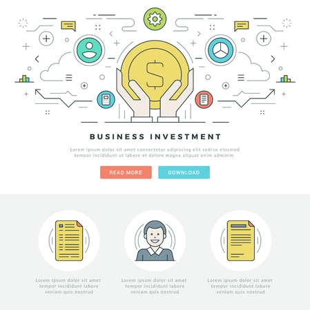 mobile apps: Flat line Business Investment Concept Vector illustration. Modern thin linear stroke vector icons. For website graphics, Mobile Apps, Web Page Layout design. Vector Icons. Illustration