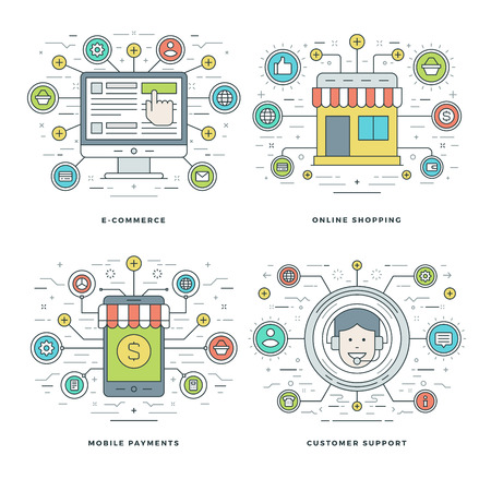 customer support: Flat line E-commerce, Mobile Payments, Customer Support, Shopping Business Concepts Set Vector illustrations. Modern thin linear stroke vector icons. Website Header Graphics, Banner, Infographics Design, Promotional Materials.