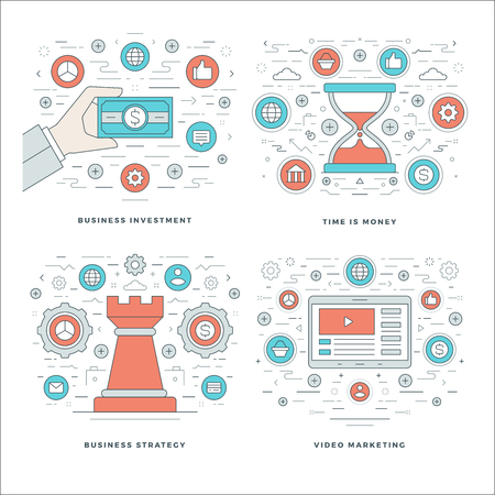 design process: Flat line Strategy, Investment, Time Management Business Concepts Set Vector illustrations. Modern thin linear stroke vector icons. Website Header Graphics, Banner, Infographics Design, Promotional Materials. Illustration