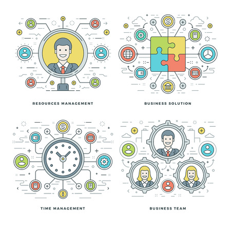 website header: Flat line Management, Team Building, Success, Employee Search, Business Concepts Set Vector illustrations. Modern thin linear stroke vector icons. Website Header Graphics, Banner, Infographics Design, Promotional Materials. Illustration
